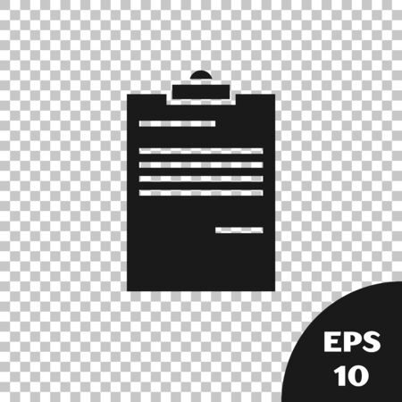 Black Document icon isolated on transparent background. File icon. Checklist icon. Business concept. Vector Illustration 向量圖像
