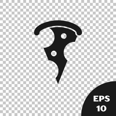 Black Slice of pizza icon isolated on transparent background. Fast food menu. Vector Illustration Illustration