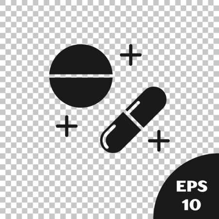 Black Medicine pill or tablet icon isolated on transparent background. Capsule pill and drug sign. Pharmacy design. Vector Illustration Vectores