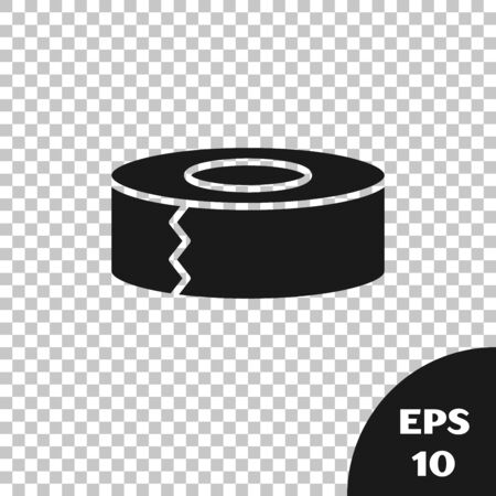 Icône de ruban de cellophane noir isolé sur fond transparent. Rouleau de ruban adhésif pour travaux et réparations. Ruban d'emballage collant. Outil de bureau et trucs. Illustration vectorielle