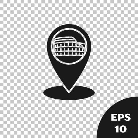 Black Map pointer with Coliseum in Rome, Italy icon isolated on transparent background. Colosseum sign. Symbol of Ancient Rome, gladiator fights. Vector Illustration Ilustración de vector