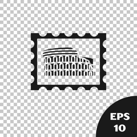 Black Postal stamp and Coliseum icon isolated on transparent background. Colosseum sign. Symbol of Ancient Rome, gladiator fights. Vector Illustration