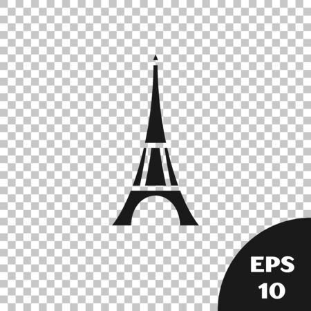 Black Eiffel tower icon isolated on transparent background. France Paris landmark symbol. Vector Illustration