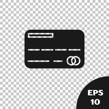 Black Credit card icon isolated on transparent background. Online payment. Cash withdrawal. Financial operations. Shopping sign. Vector Illustration Иллюстрация