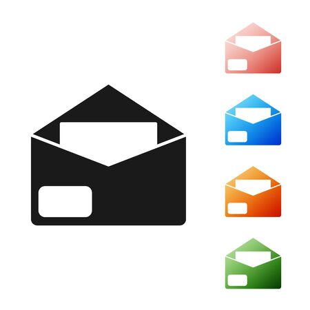 Black Envelope icon isolated on white background. Email message letter symbol. Set icons colorful. Vector Illustration