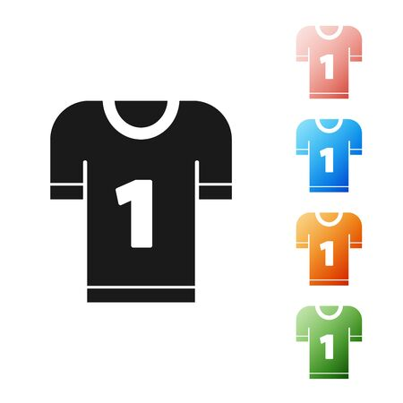 Black American football jersey icon isolated on white background. Football uniform sign. Set icons colorful. Vector Illustration