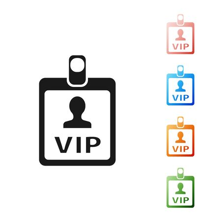 Black VIP badge icon isolated on white background. Set icons colorful. Vector Illustration