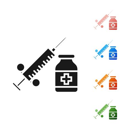 Black Medical syringe with needle and vial or ampoule icon isolated on white background. Vaccination, injection, vaccine, insulin concept. Set icons colorful. Vector Illustration
