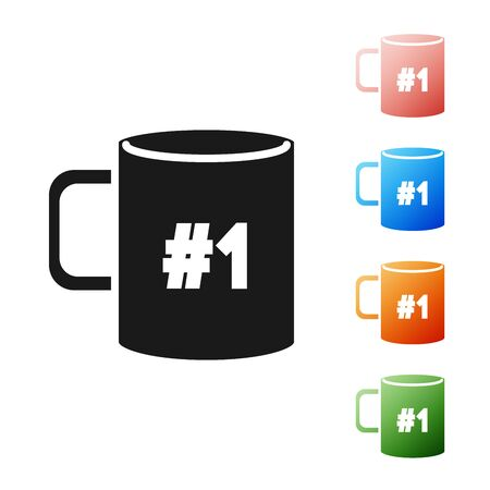 Black Coffee cup flat icon isolated on white background. Tea cup. Hot drink coffee. Set icons colorful. Vector Illustration Vectores