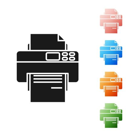 Black Printer icon isolated on white background. Set icons colorful. Vector Illustration