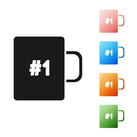 Black Coffee cup flat icon isolated on white background. Tea cup. Hot drink coffee. Set icons colorful. Vector Illustration Illustration