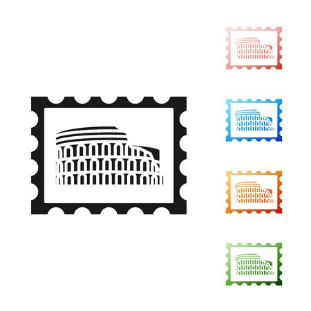 Black Postal stamp and Coliseum icon isolated on white background. Colosseum sign. Symbol of Ancient Rome, gladiator fights. Set icons colorful. Vector Illustration