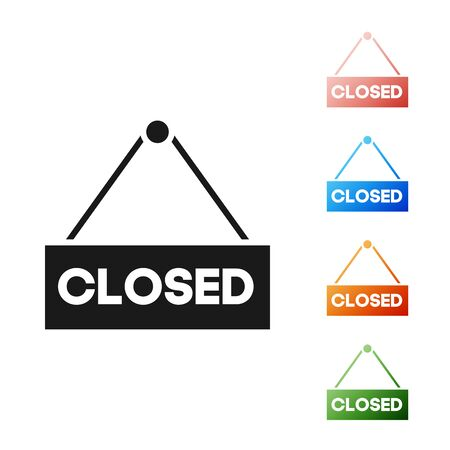 Black Hanging sign with text Closed icon isolated on white background. Business theme for cafe or restaurant. Set icons colorful. Vector Illustration