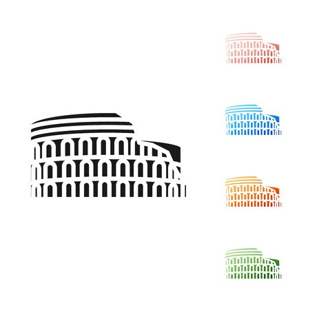 Black Coliseum in Rome, Italy icon isolated on white background. Colosseum sign. Symbol of Ancient Rome, gladiator fights. Set icons colorful. Vector Illustration
