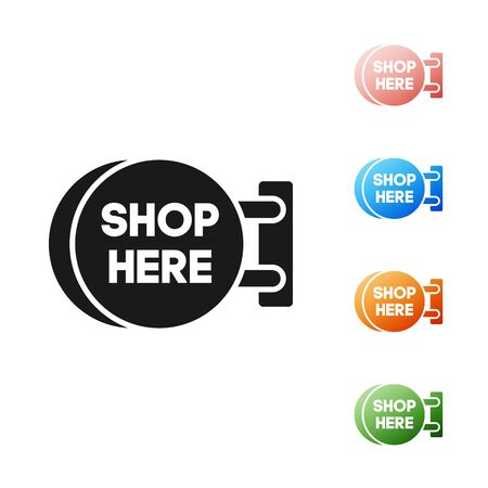 Black Signboard hanging with an inscription shop here icon isolated on white background. Suitable for advertisements bar, cafe, pub, restaurant. Set icons colorful. Vector Illustration