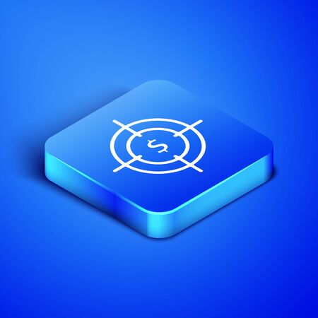 Isometric Target with dollar symbol icon isolated on blue background. Investment target icon. Successful business concept. Cash or Money sign. Blue square button. Vector Illustration Ilustração