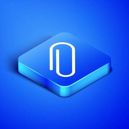 Isometric Paper clip icon isolated on blue background. Blue square button. Vector Illustration