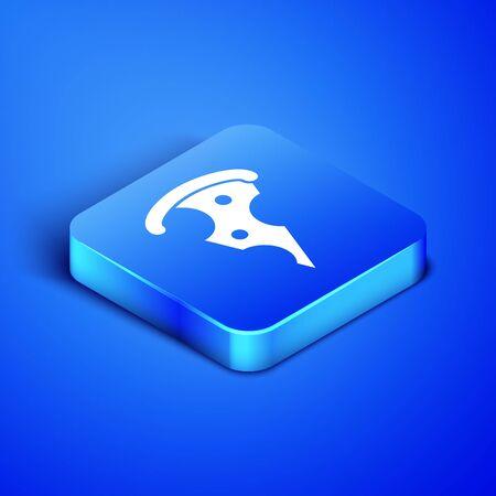 Rebanada isométrica de icono de pizza aislado sobre fondo azul. Menú de comida rápida. Botón cuadrado azul. Ilustración vectorial