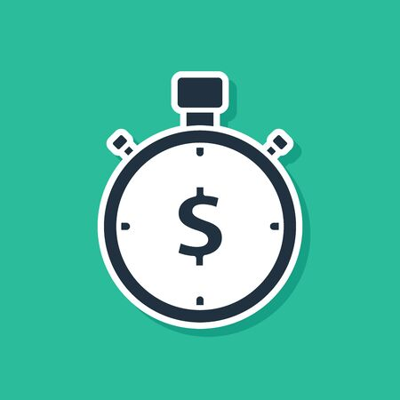 Blue Time is money icon isolated on green background. Money is time. Effective time management. Convert time to money. Stopwatch sign. Vector Illustration