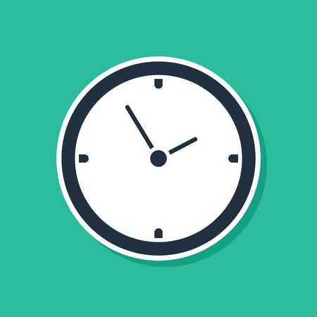 Blue Clock icon isolated on green background. Time symbol. Vector Illustration 矢量图片