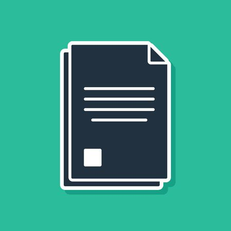 Blue File document icon isolated on green background. Checklist icon. Business concept. Vector Illustration 向量圖像