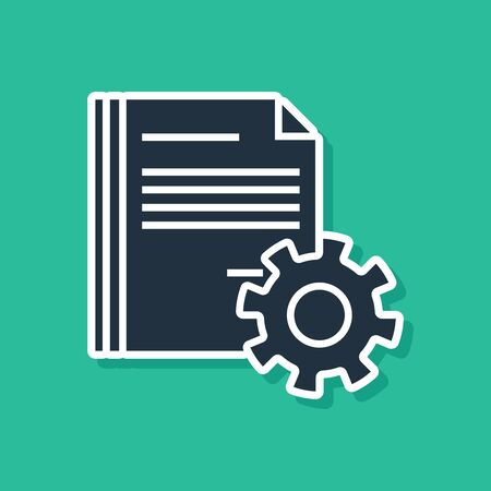 Blue Document settings with gears icon isolated on green background. Software update, transfer protocol, teamwork tool management. Vector Illustration