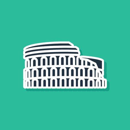 Blaues Kolosseum in Rom, Italien-Symbol auf grünem Hintergrund isoliert. Kolosseum-Zeichen. Symbol des antiken Roms, Gladiatorenkämpfe. Vektorillustration