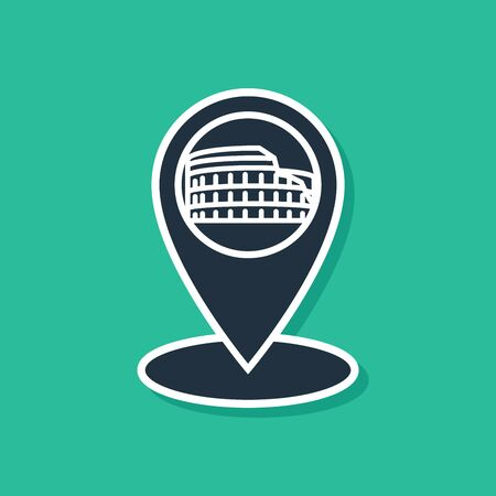 Blue Map pointer with Coliseum in Rome, Italy icon isolated on green background. Colosseum sign. Symbol of Ancient Rome, gladiator fights. Vector Illustration