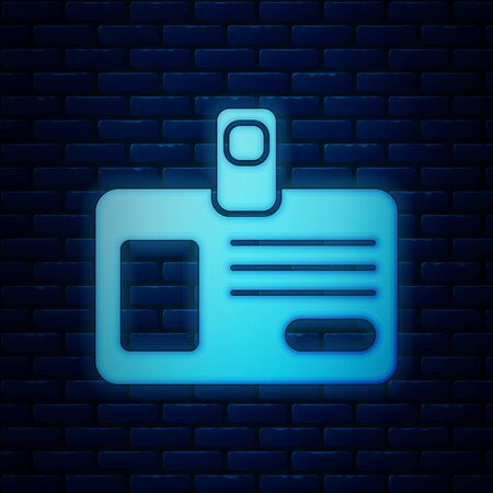 Glowing neon Identification badge icon isolated on brick wall background. It can be used for presentation, identity of the company, advertising. Vector Illustration Ilustração