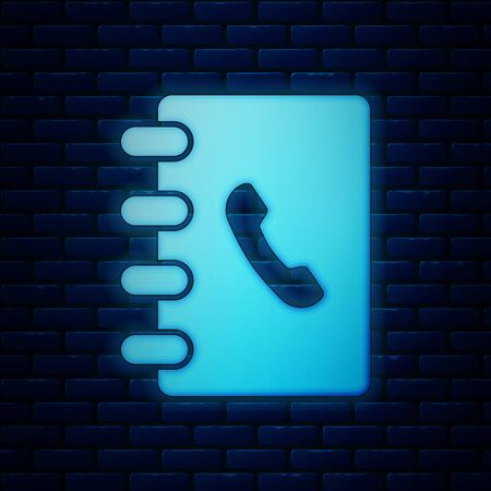 Glowing neon Address book icon isolated on brick wall background. Notebook, address, contact, directory, phone, telephone book icon. Vector Illustration Illustration