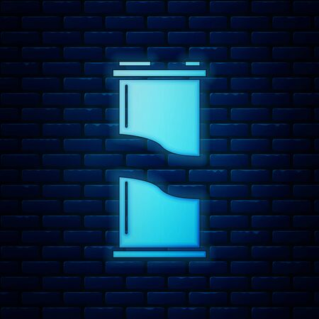 Glowing neon Soda can icon isolated on brick wall background. Vector Illustration Иллюстрация