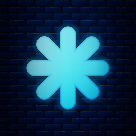 Glowing neon Cross hospital medical icon isolated on brick wall background. First aid. Diagnostics symbol. Medicine and pharmacy sign. Vector Illustration