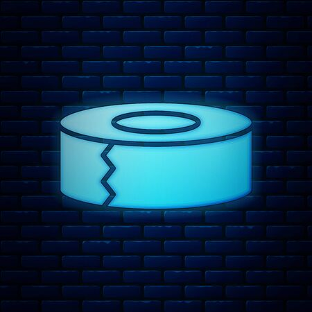 Glowing neon Scotch icon isolated on brick wall background. Roll of adhesive tape for work and repair. Sticky packing tape. Office tool and stuff. Vector Illustration 向量圖像