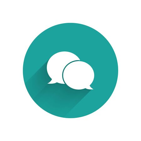 White Speech bubble chat icon isolated with long shadow. Message icon. Communication or comment chat symbol. Green circle button. Vector Illustration Illustration