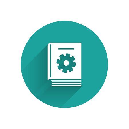 """Weißes Benutzerhandbuch-Symbol mit langem Schatten isoliert. Handbuch für Benutzer. Hinweisschild. Vor Benutzung lesen. Schaltfläche """"Grüner Kreis"""". Vektorillustration Vektorgrafik"""