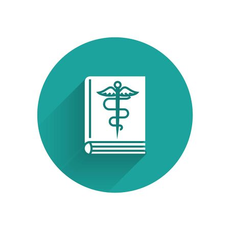 White Medical book icon isolated with long shadow. Green circle button. Vector Illustration