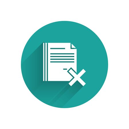 White Delete file document icon isolated with long shadow. Rejected document icon. Cross on paper. Green circle button. Vector Illustration Ilustração