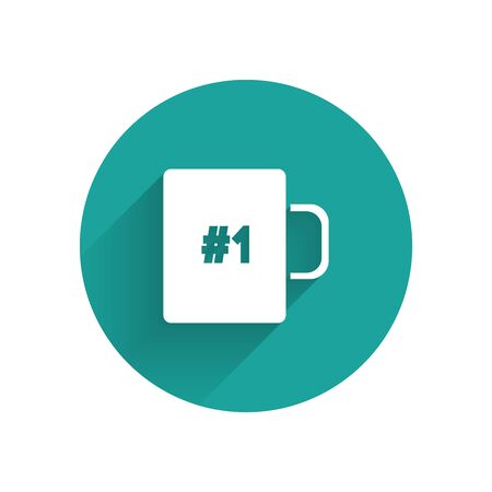White Coffee cup flat icon isolated with long shadow. Tea cup. Hot drink coffee. Green circle button. Vector Illustration