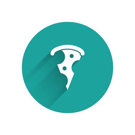 White Slice of pizza icon isolated with long shadow. Fast food menu. Green circle button. Vector Illustration