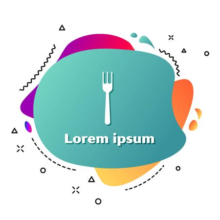 White Fork icon isolated on white background. Cutlery symbol. Abstract banner with liquid shapes. Vector Illustration