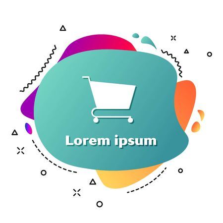 White Shopping cart icon isolated on white background. Online buying concept. Delivery service sign. Supermarket basket symbol. Abstract banner with liquid shapes. Vector Illustration