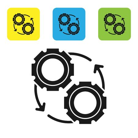 Black Gear and arrows as workflow process concept icon isolated on white background. Gear reload sign. Set icons colorful square buttons. Vector Illustration Illustration