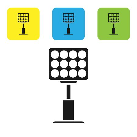 Black Bright stadium lights icon isolated on white background. Spotlight on a football field. Floodlight, light projector. Set icons colorful square buttons. Vector Illustration