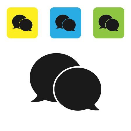 Black Speech bubble chat icon isolated on white background. Message icon. Communication or comment chat symbol. Set icons colorful square buttons. Vector Illustration Ilustração