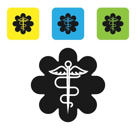 Black Emergency star - medical symbol Caduceus snake with stick icon isolated on white background. Star of Life. Set icons colorful square buttons. Vector Illustration Vectores