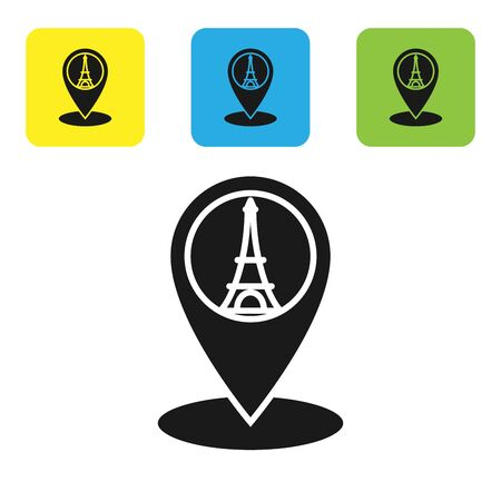 Black Map pointer with Eiffel tower icon isolated on white background. France Paris landmark symbol. Set icons colorful square buttons. Vector Illustration 向量圖像