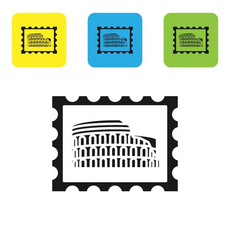 Black Postal stamp and Coliseum icon isolated on white background. Colosseum sign. Symbol of Ancient Rome, gladiator fights. Set icons colorful square buttons. Vector Illustration