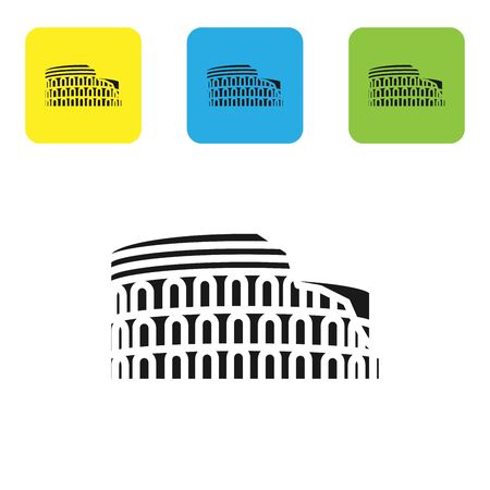 Black Coliseum in Rome, Italy icon isolated on white background. Colosseum sign. Symbol of Ancient Rome, gladiator fights. Set icons colorful square buttons. Vector Illustration Ilustração