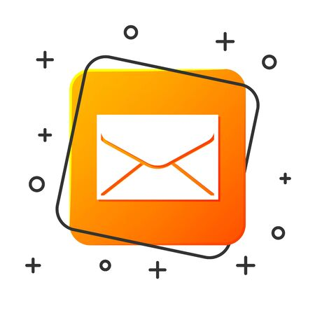 White Envelope icon isolated on white background. Email message letter symbol. Orange square button. Vector Illustration