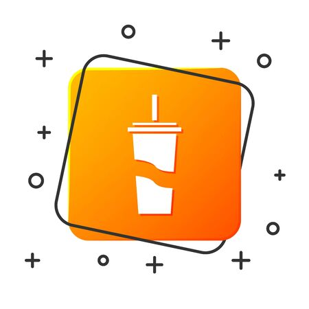 White Paper glass with drinking straw and water icon isolated on white background. Soda drink glass. Fresh cold beverage symbol. Orange square button. Vector Illustration Vettoriali